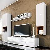 Pharao24 Design Wohnwand in Weiß und Eiche modern