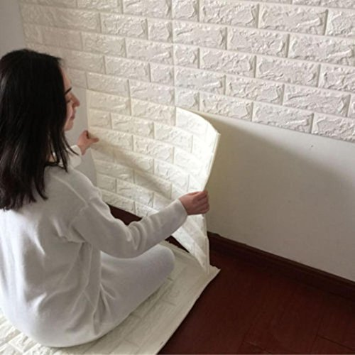 Price comparison product image Reduce The Noise Simulation Embossed Brick Stone PE Foam 3D Wallpaper DIY Wall Stickers Wall Decor,  Non-Toxic,  Odor-Free,  Anti-Collision (White)