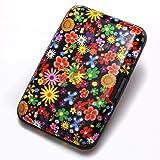 Porte Carte Crédit visite Portefeuille Aluminium Rigide sécurité Fleurs colorées