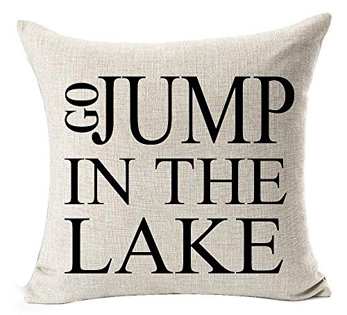 xiangwangdeli Best Gift Funny Inspirational Sayings Sit Back Relax You're at The Lake Cotton Linen Decorative Home Office Throw Pillow Case Cushion Cover Square 18 X 18 Inches - Ivory Square Kissen