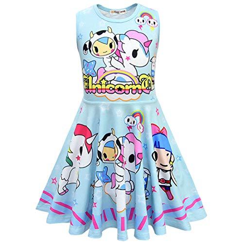 QYS Mädchen Einhorn Kleid Prinzessin ärmellose Abendgesellschaft Kleider für Kinder Halloween Kostüm Urlaub Geburtstag verkleiden Sich Childs Unicorns Outfit Kleidung,Blue,130cm
