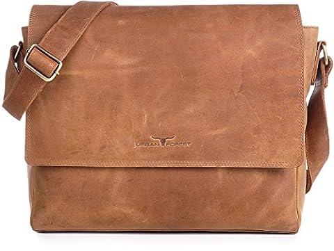 Ledertasche Vintage Leder Umhängetasche von URBAN FOREST Damen Herren 14 Zoll Laptoptasche Messenger Bag Aktentasche Arbeitstasche Notebooktasche DIN-A4 Cognac Camel 36x28x8cm (B x H x
