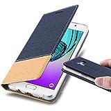 Cadorabo - Etui Housse pour Samsung Galaxy A3 (6) (Modèle 2016) - Coque Case Cover Bumper Portefeuille en Design Tissue-Similicuir avec Stand Horizontale, Fentes pour Cartes et Fermeture Magnétique Invisible en BLEU-FONCÉ-MARRON
