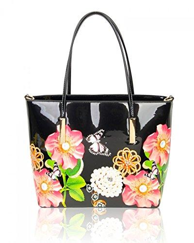 LeahWard Damen Patent Flower Large Size Handtaschen Einkaufstasche für Frauen Handtaschen für die Ferienarbeit 0573 Schwarz Einkaufstasche