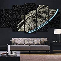KQURNXSL Modern wall art pictures home decoration posters 5 panels Star Wars destroyer Millennium Falcon living room HD printed