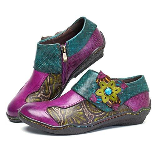 Socofy Mocassins Femme, Chaussures de Ville en Cuir Talon Plate Souliers Loafters à Enfilter Printemps Eté Fait à la mains 36-42 Violet Violet