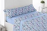 Cabetex Home - Juego de sábanas - Tres Piezas - Polialgodón - Mod. Pirea (Azul, 150_x_190/200 cm)