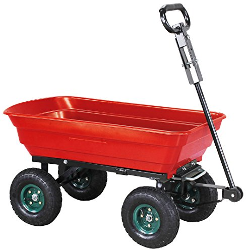 Miweba Bollerwagen Dumper Kippwagen Handwagen - 300 Kg - Kippfunktion - Lenkachse - Luftreifen - Schubkarre - Gartenkarre - Gartenwagen - Transportwagen (Rot)