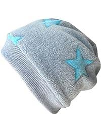 WOLLHUHN Warme Beanie-Mütze / Babymütze grau mit helltürkisfarbenen Sternen, Wellnessfleece, für Jungen und Mädchen, 20160810