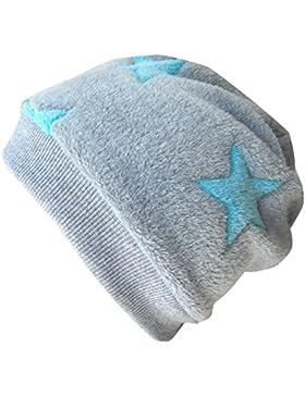 WOLLHUHN Warme Beanie-Mütze / Babymütze grau mit helltürkisfarbenen Sternen, Wellnessfleece, für Jungen und Mädchen...