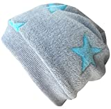 Wollhuhn Warme Beanie-Mütze/Babymütze grau mit helltürkisfarbenen Sternen, Wellnessfleece, für Jungen und Mädchen, 20160810, Größe XS: KU 42/46 (ca 6 Mon. bis 2 Jahre)
