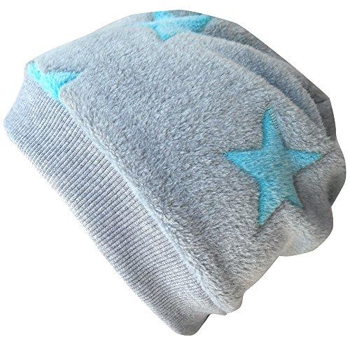 Wollhuhn Warme Beanie-Mütze/Babymütze grau mit helltürkisfarbenen Sternen, Wellnessfleece, für Jungen und Mädchen, 20160810, Größe XXS: KU 36/40 (bis ca 6 Mon.)