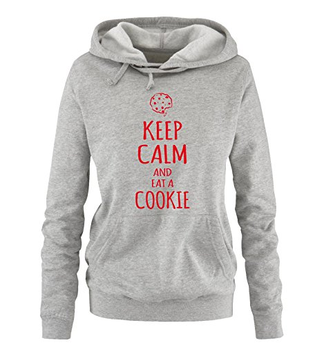 Comedy Shirts - KEEP CALM and eat a COOKIE - Damen Hoodie - Grau / Rot Gr. - Cookies Wanderer