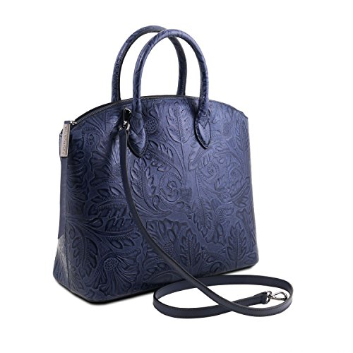 Tuscany Leather Gaia Borsa shopper in pelle stampa floreale - TL141670 (Blu scuro) Blu scuro