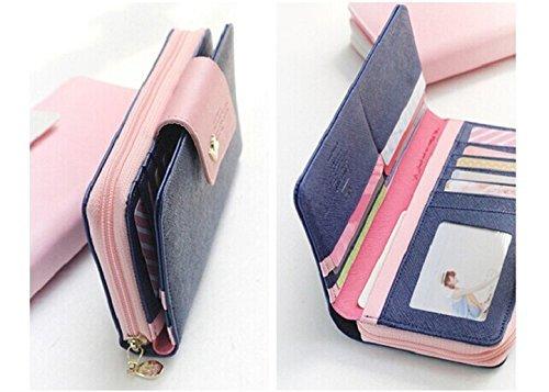 Bocideal Mode 1PC Vögel Muster langer Reißverschluss Handtasche Leder Geldbörse (Blau)