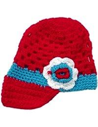 LadyMYP©Handgemachte Strickmütze, Babymütze, Kindermütze, Hüte, 100% Wolle, rot-hellblaue Mütze mit weißer Blume