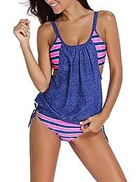 KamiraCoco Sport Bikini Damen Push Up Badeanzug Bademode Damen Bandeau Bikini Swimwear Tankini Top mit Slip