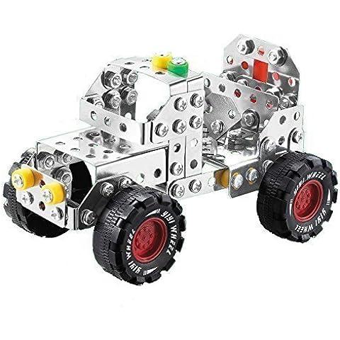 Metallo Build-n-Play Montare Smontare Off-road Jeep Costruzione dei Componenti del Veicolo Model Car 195pcs Edificio Giocattolo per 6 Anni +