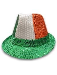 Mens Ladies Trilby Hat Sequin Fedora Hat 1920'S Gangster Fancy Dress Dance Show Unisex Accessory (Green/White/Orange)