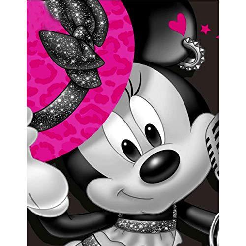 Leezeshaw 5D DIY Diamant Malen nach Zahlen Kits berühmte Strass-Stickerei Gemälde Bilder für Home Decor - Mickey (30 x 40 cm), Mickey Maus, 50x60cm (Maus-dekoration Diy Minnie)