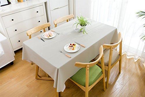 Duoguan rettangolare tovaglia in pvc con pulire tinta unita impermeabile tavolo copre 137x 137cm (137,2x 137,2cm), light grey, 137x200cm(54