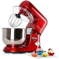Klarstein Bella Rosa - Robot de cuisine , Mélangeur , Pétrin , Puissance max. 1200 W , Vitesse réglable à 6 niveaux , Bol en inox 5,2 L , Serrage rapide , Crochets et fouets divers , Rouge