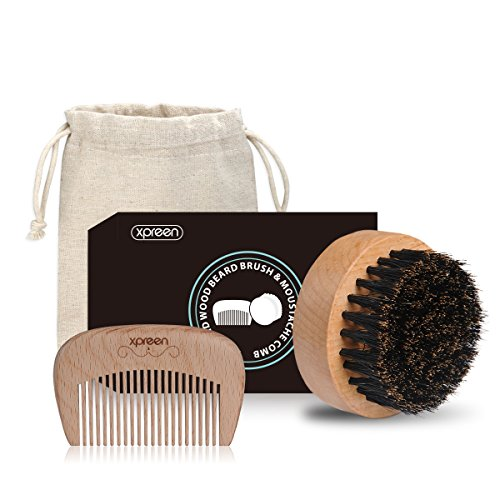 Price comparison product image Beard Comb and Brush Set, Xpreen Premium Handmade Wooden Comb and 100% Natural Boar Bristle Brush for Men Beard & Mustache Care with Carrying Case
