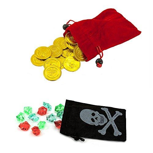 Piraten Schwarz Kostüm Gold Und - Oblique Unique Piraten Beutel mit Edelsteinen und Gold - Piratenparty, Piraten Schatzbeutel, (1 x schwarzer Beutel mit 12 Edelsteinen und 1 x roter Beutel mit 36 Goldtalern)