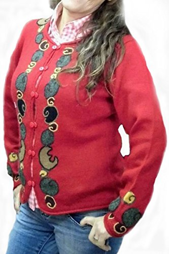 Alpacaandmore Rote extravagant figurbetonte bestickte Jacke Strickjacke Alpakawolle (M)