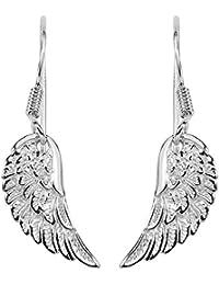 Broche de plata de ley pendientes de plata rodio Angel Wing