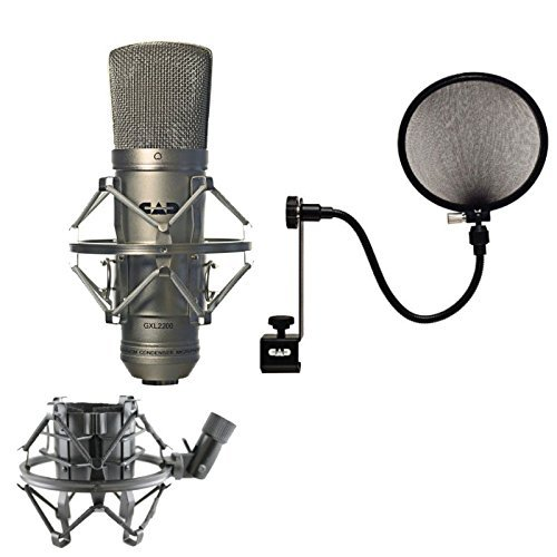 CAD GXL2200 Cardioid Condenser Recording Broadcasting Microphone +15A Pop Filter on 15-Inch Gooseneck  available at amazon for Rs.16249