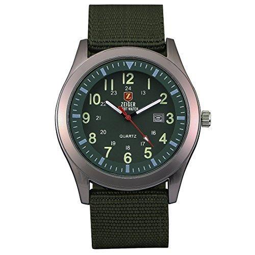 ZEIGER Militär Serie Herren Uhr Analog Quarz Grün Armbanduhr Datum Anzeiger W283