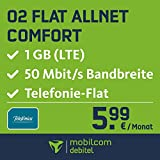mobilcom-debitel Flat Allnet Comfort im o2 Netz (5,99 EUR monatlich, 24 Monate Laufzeit, Telefonie-Flat in alle deutschen Netze, 1GB Internet Flat, LTE mit max. 50 MBit/s, Triple-Sim-Karten)