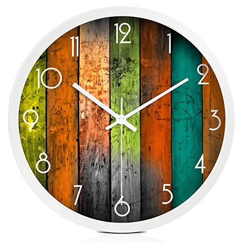 BGGZXX Mudo Colgar En La Pared Reloj De Cuarzo, Creativo Reloj De Metal Borde De Acero Inoxidable Reloj De Pared Decorativo, Dormitorio Sala De Estar,White,12Inches