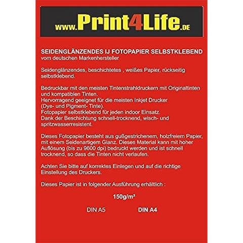 100 hojas de papel fotográfico A4 150g /m² semi-brillante adhesivo en toda la superficie a 9600 dpi impermeable resistente a la