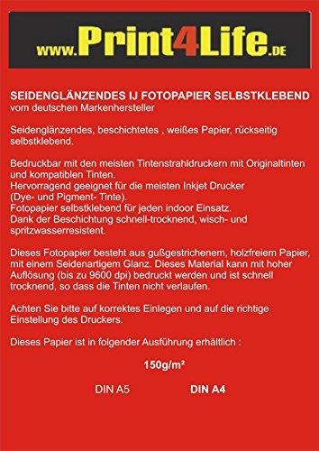 100 fogli di carta fotografica A5 a 150g / m² semilucido adesivo su tutta la superficie a 9600 dpi resistente alla luce impermeabile (148,5mm x 210mm)