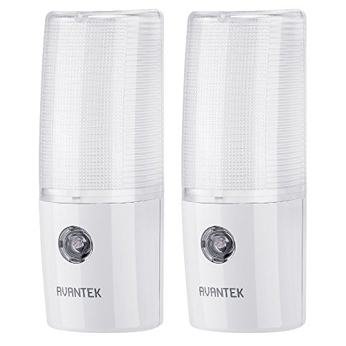 AVANTEK 2-Pack LED Night Light Plug-and-Play Automatic Wall Lights with Dusk to Dawn Sensor Test