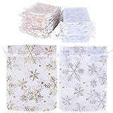 BUONDAC (9 * 12cm) 100 Stücke Organzabeutel Hochzeit Weihnachten Taufe Organzasäckchen zum befüllen Säckchen für Lavendel Geschenkbeutel Organza Schmuckbeutel klein (Weiß (Schneeflocken))