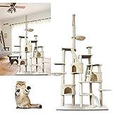 VINGO® Gemütlich Katzenbaum mit Schlafplatz 230cm Hoch mit Hängekörben, Höhlen & Spielseilen - Beige
