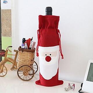 AsentechUK® 1 x weihnachtliche Weinflaschen-Set, Weihnachtsdekoration für Zuhause, Küche, Tischdekoration