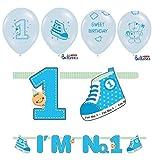 Feste Feiern 1 Geburtstag Junge | 5 Teile Luftballons Girlande Schuhe Banner Blau Hellblau Bunt Deko Set Alles Gute