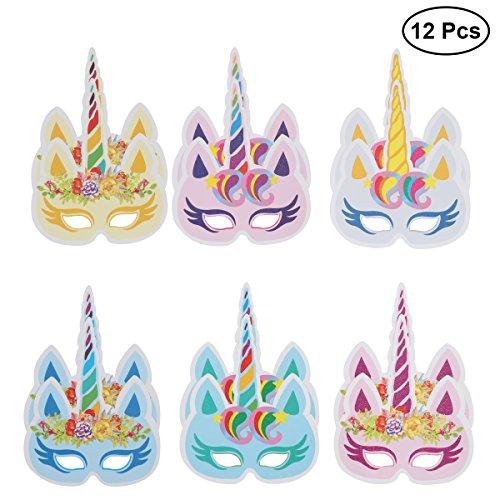 LUOEM 12pcs fiesta de cumpleaños máscaras colorido Unicornio máscara fiesta suministros decoración para niños y adultos (6 estilos)