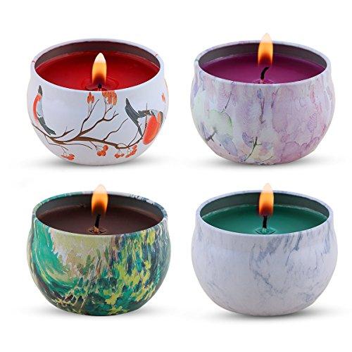 Set regalo candele profumate - lavanda, rosa, albero del tè e menta piperita, cucina candela gynti 100% cera di soia per lo stress sollievo e aromaterapia, candele regalo di natale - 4 pezzi