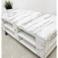 Dydaya Mesa de Centro Vintage Blanca echa con Madera de Palets & Pale - Mesas auxiliares Bajas & pequeñas - Muebles Blancas & Objectos Vintage