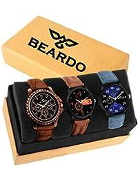 Beardo Pack of 3 Multicolour Analog Qurtz Watch for Men and Boys