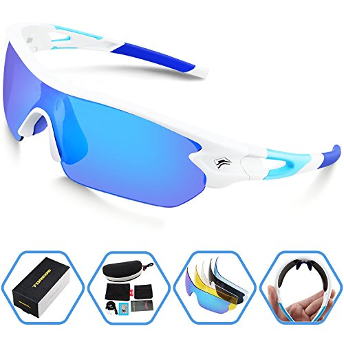 Torege Sports Sunglasses Polarized Glasses For Man Women Cycling Running Fishing Golf TR002 (White&Ice blue lens)