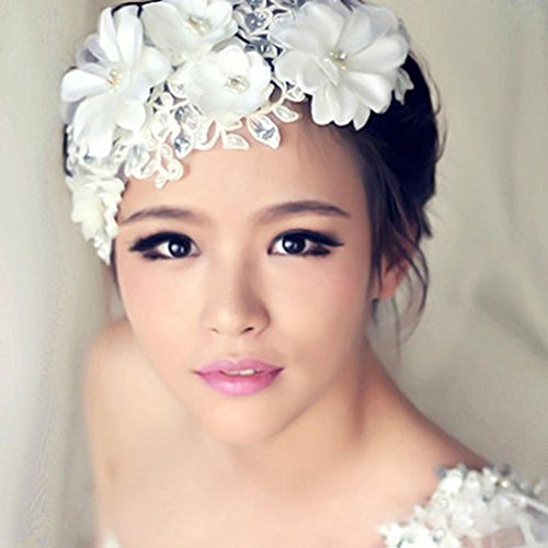Bridal Lace Jacke (DAY.LIN Damen Haarschmuck Armband Neue handgefertigte Tiara Hochzeit Bridal Floral Lace Pearl Headpiece Haarnadel)