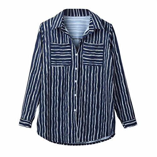 Bluse Damen Btruely Büro Langarm Bluse Lose Gestreift Drucken Top Taste Shirt (S, Blau) (Langarm-taste Popeline)