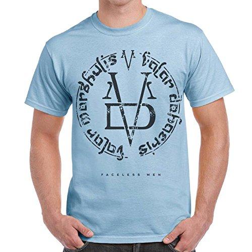 CHEMAGLIETTE! - T-Shirt Game Of Thrones Faceless Man Valar Morghulis Trono Di Spade Maglietta, Colore: Celeste, Taglia: L