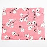 Nikgic Japanische Sakura Pattern Baumwoll Leinen Tischsets Non Slip waschbar Tischmatten Wärmedämmmatte für Home Restaurant, Café, Hotel Use 30 * 40cm (Rosa)